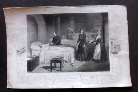 Tyrell Crimean War 1858 Print. Florence Nightingale in the Hospital at Scutari